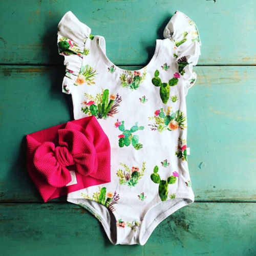Newborn Infant Baby Girl Flower Printed Short Flutter Sleeve One-Piece Jumpsuit Clothes Outfits Sunsuit ...