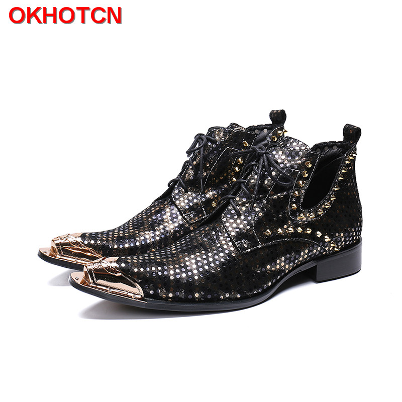 Vintage Military Martin Boots Men Low Ankle Trim Flat Ankle Winter Autumn Boots Bling Rivets Safety Shoes Steel Toe Breathable