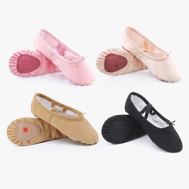 Детская Балетная обувь холст балетные костюмы чешки разделение подошва обувь для девочек Childern балерина практика обувь танцев