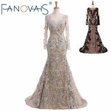 314c7198d12d35 Silver Mermaid avondjurken Sequin lace kaftan dubai Prom dress 2018 robe de  soiree vestido de fiesta lange mouwen