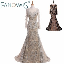 Real Photo Mermaid Black And Gold evening Dresses 2017 Sequin and lace kaftan dubai dresses for party robe de soiree