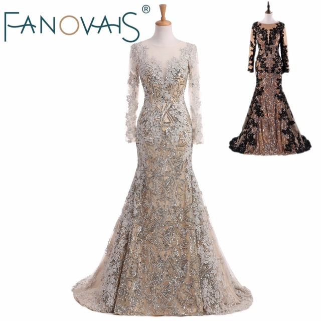 Silver Mermaid evening Dresses Sequin lace kaftan dubai dress Prom Dress 2019 robe de soiree vestido de fiesta long sleeves