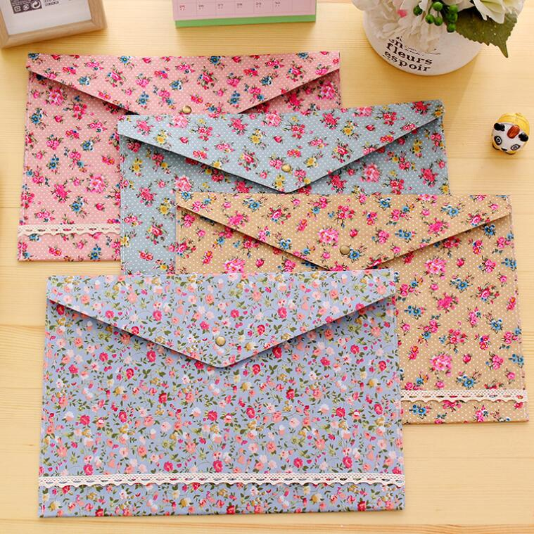 4PCS/Lot  New Vintage Dots Flower Lace Series A4 Documents File Bag  File Folder Stationery Filing Production
