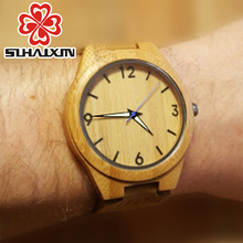 Watches Men Unique Nature Bamboo Wooden Quartz Bracelet Wristwatch With Genuine Leather Band Luxury Wood Watch Male Clock Gift
