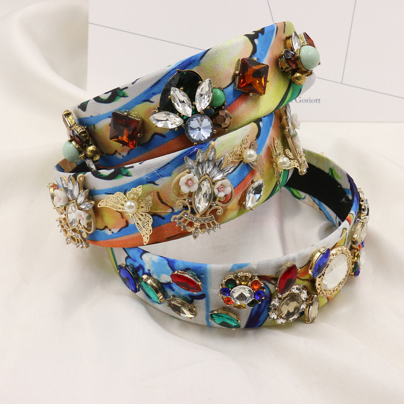 2016 Winter New Baroque printing Headband Pearl Hairband Crystal Flower Hair Jewelry Gold butterfly Hairwear for