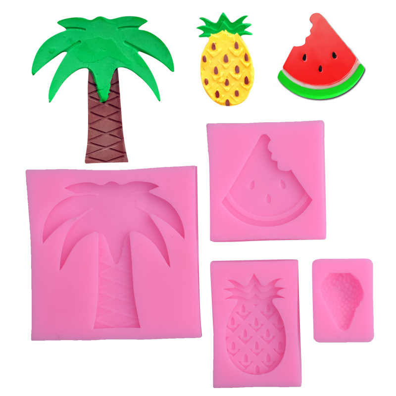 Watermelon pineapple strawberry turn sugar silicone mold coconut tree clay mold cake decoration mould