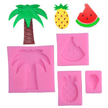 Watermelon pineapple strawberry turn sugar silicone mold coconut tree clay mold cake decoration mould(China)