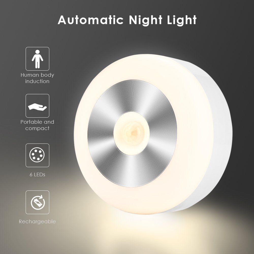 LED Motion Sensor Night Light Cabinet Wall Lamp USB Rechargeable Indoor Headlamp For Toilet WC Kitchen Bedroom Book Table Lamp