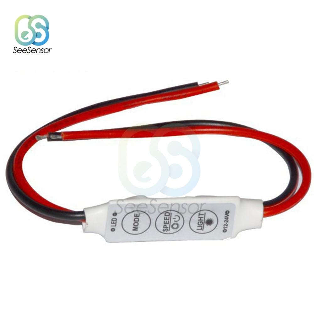 Variateur LED une seule couleur Contrôleur Interrupteur 12V DC 3 Clés Pour 5050 3528 5630 5730 3014 LED Bande Lumière Lampes