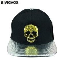 Hombres Swag cráneo del metal rhinestone negro Gorras de béisbol snakeskin  cuero ala punk rock hip hop sombreros del SnapBack So. 2a274bf4cad