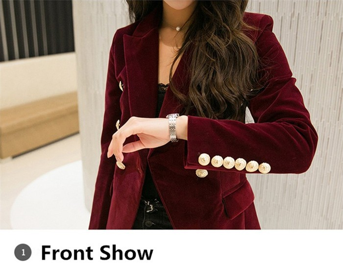 2016 New Spring Fashion Women Midnight Navy Slim Velvet Blazer Jacket Double Breasted simple Lady Blazers  (6)