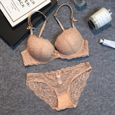 Sexy fashion young girl small lace bra set push up underwear plus size bra thin thick