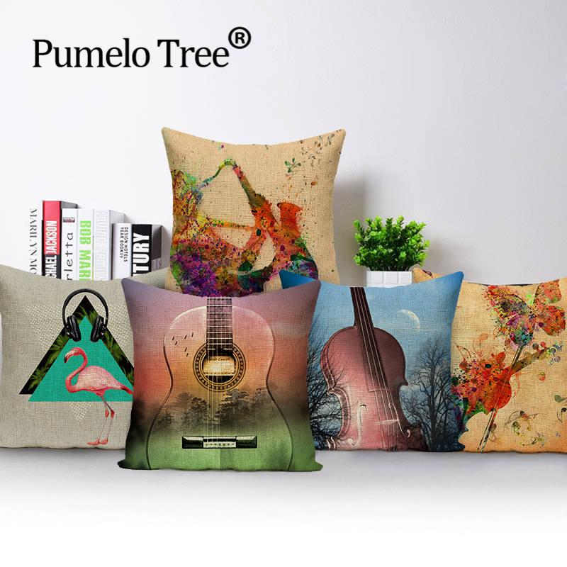 New Desigh Fashion Style Music Guitar Saxophone Print Cushion Decor Cojines Sofa Throw Pillow Case Printed Cotton Linen Square