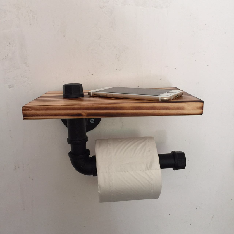 Retro Iron Toilet Paper Holder Bathroom Hotel Roll Paper Tissue Hanging Rack Wooden Shelf Wall Mounted Bathroom Paper HolderRetro Iron Toilet Paper Holder Bathroom Hotel Roll Paper Tissue Hanging Rack Wooden Shelf Wall Mounted Bathroom Paper Holder