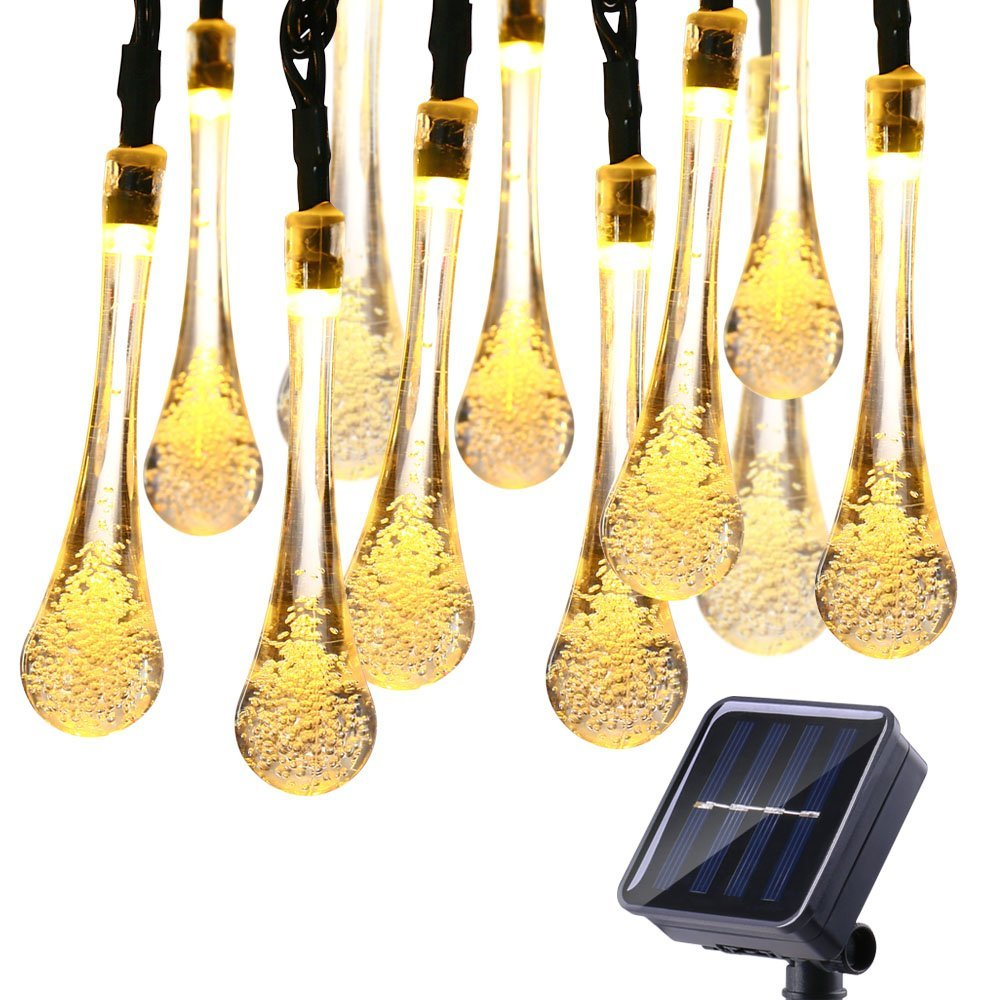6M 30LED Solar Droplet Bulb String Lights Outdoor Waterproof Christmas Garden Light Lawn Courtyard Solar Lamp Decoration