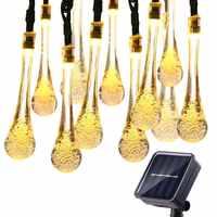 Bombilla Solar 6M 30 LED, guirnalda de luces de gotas, guirnalda de luces para césped y jardín al aire libre, luces solares
