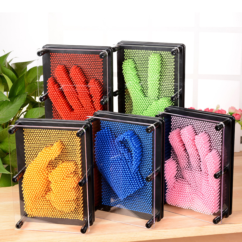 3D 5 Colors S/M Sizes Magic Pin Needle Impression Handprint Clone Hand Sculpture Creative Art Toy Desktop Office Toy