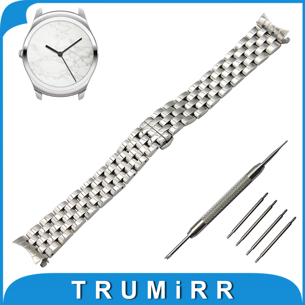 20mm Stainless Steel Watch Band Curved End Strap for Ticwatch 2 42mm Butterfly Buckle Wrist Belt Bracelet Black Silver + Tool curved end stainless steel watch band for breitling iwc tag heuer butterfly buckle strap wrist belt bracelet 18mm 20mm 22mm 24mm