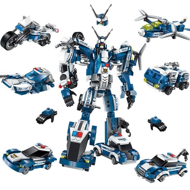 6 In 1 Stadt Polizei Serie Bausteine Kinder Montage SWAT Aircraft Auto Roboter Spielzeug Block Kompatibel mit Legoed für kinder