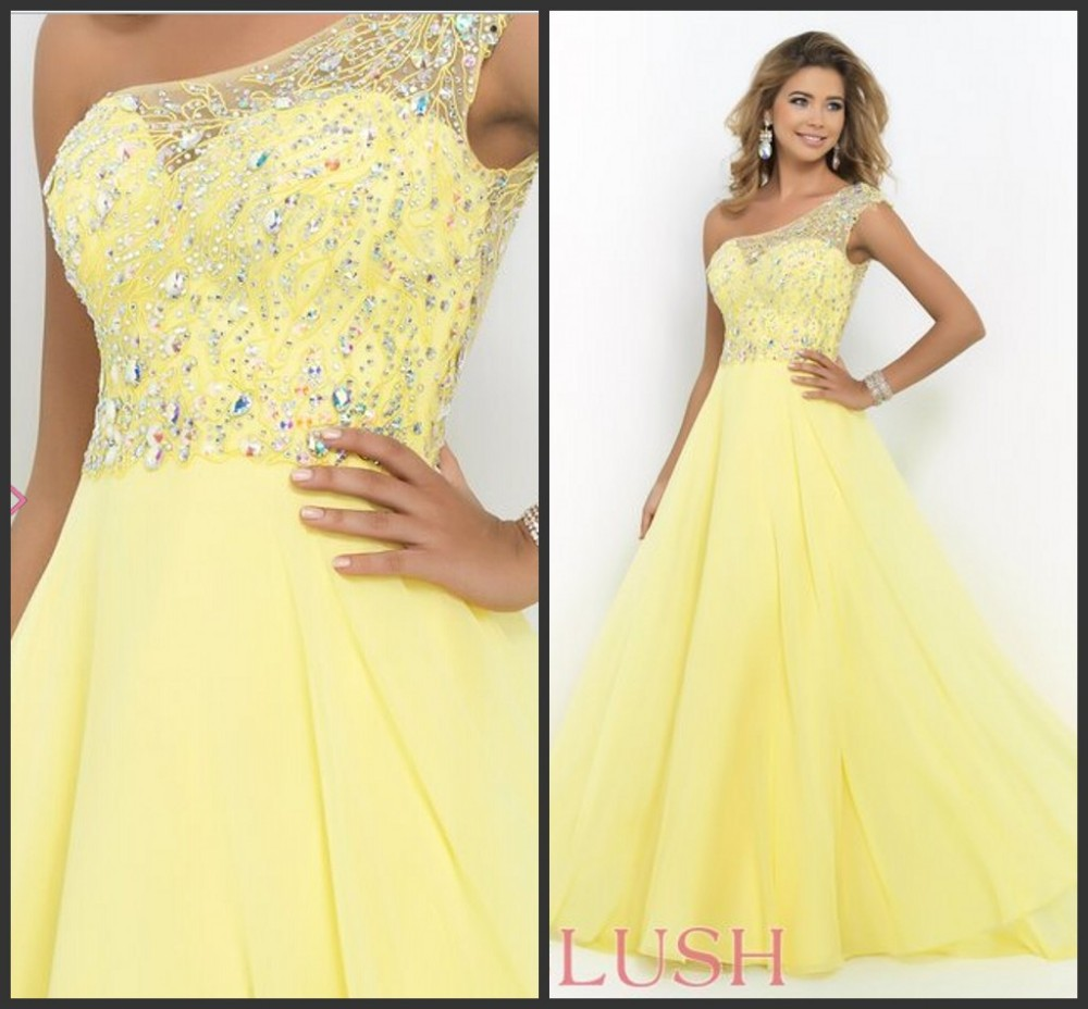 82e5ab8946 Elegant chiffon Yellow Ball Gown Bling Crystal Prom Dress one shoulder  Formal Party Gowns Sheer Back Plus Size Evening Dress a8
