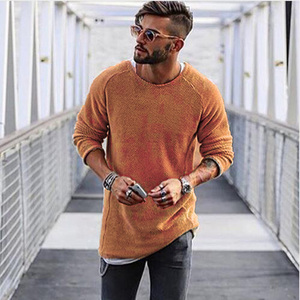Autumn casual solid color sweater round neck long sleeve head Slim men's bottoming shirt sweater free shipping