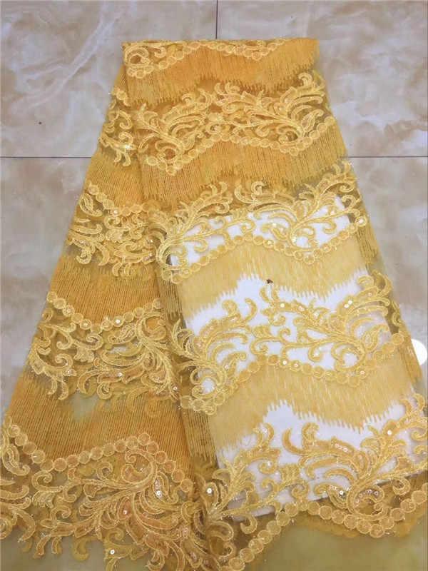 Tela de encaje nigeriano 2018 tela de cordón Verde Africano dorado con lentejuelas de encaje nigeriano de alta calidad para vestido de novia