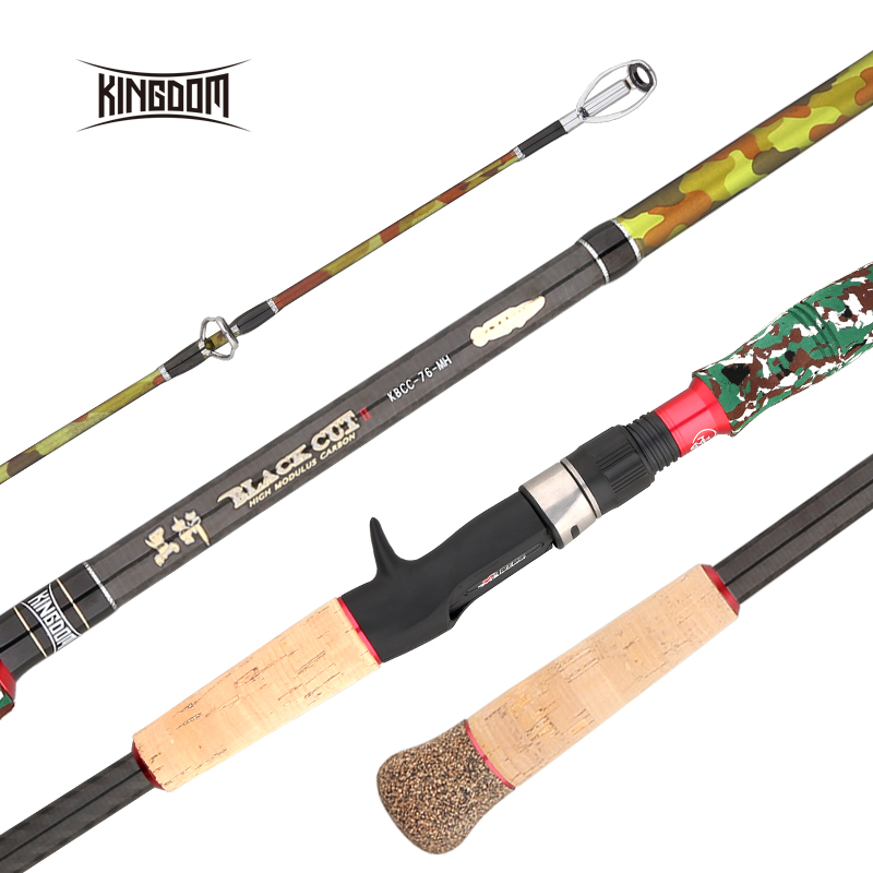 Kingdom Black Cut 2 Section Spinning Casting Fishing Rod Carton MH, H Power Lure Weight 10-45g Fishing Rods 2.28m Travel Rods pro mark promark h rods hot rods