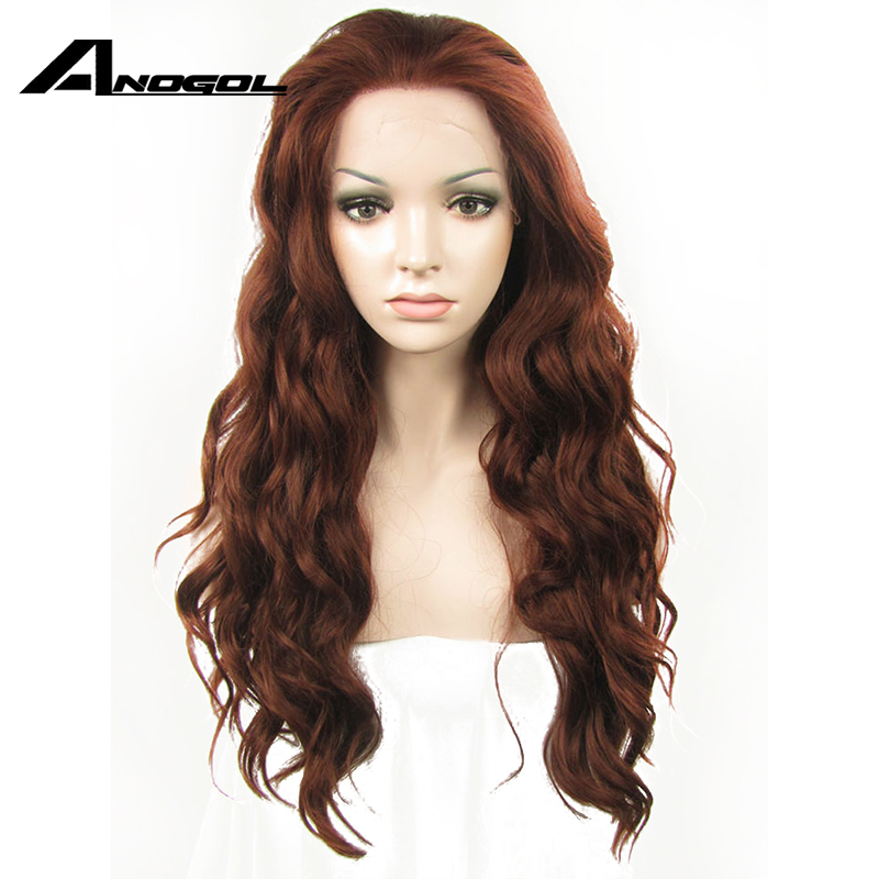 Anogol High Temperature Fiber Auburn Synthetic Lace Font Wigs Long Loose Wave Copper Red Peruca Hair Wigs For Black Women
