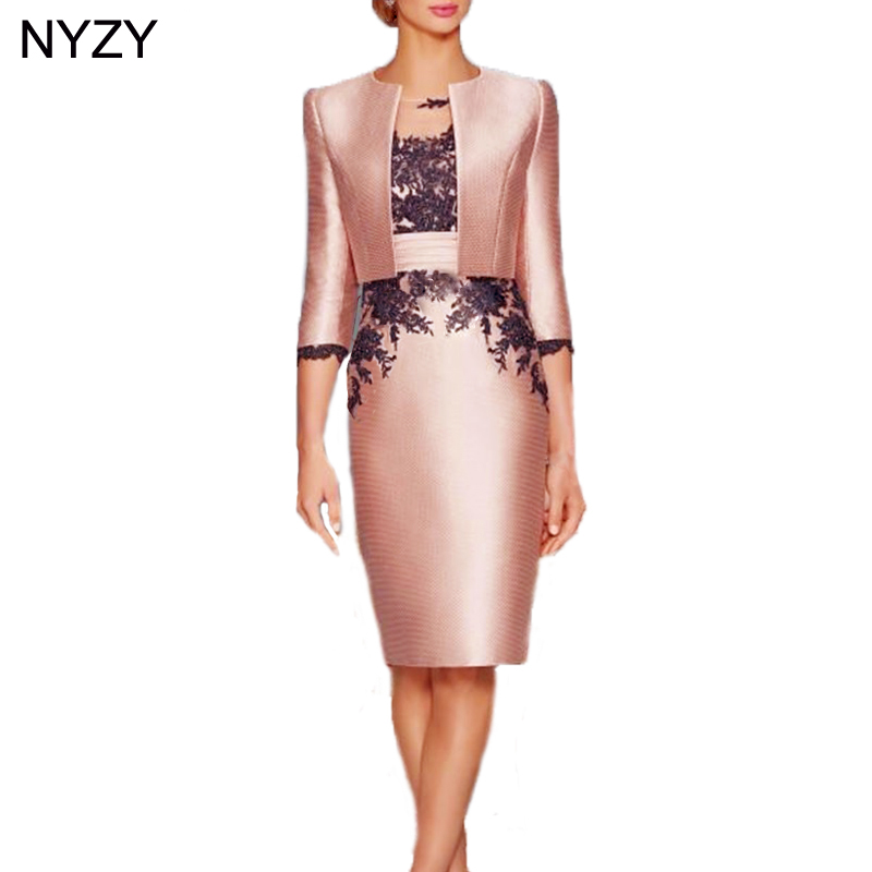 NYZY M6 Elegant Party Dress Lace Appliques Formal Dress Two Piece Mother Of The Bride Groom Dresses With Jacket Coat 2019