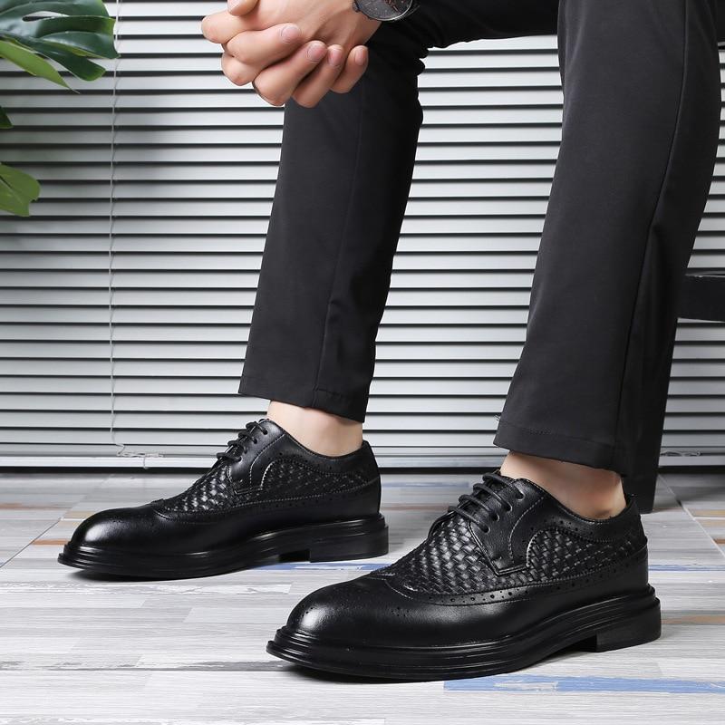 forme Pour Mariage Brogues En De Luxe Mens Plate Italien Robe Marque Hommes Oxford Formelle Cuir Sociale Chaussures Noir Sapato Tissé ta0x6xwq8