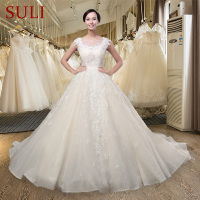 SL006 Elegant Sweet Champagne Lace Appliques A Line Wedding Dress Romantic Luxury Princess Bridal Gown 2016