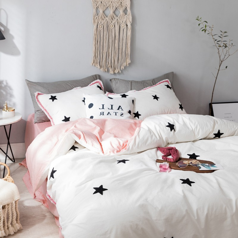 Simple ins star Wave point embroidered cotton 4pcs/setKorean tassel decoration bedding home textile queen king bed sheet setSimple ins star Wave point embroidered cotton 4pcs/setKorean tassel decoration bedding home textile queen king bed sheet set