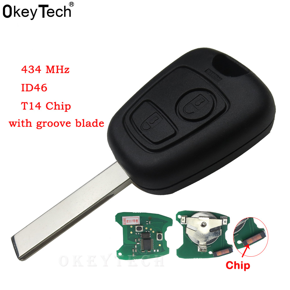 Buy Okeytech Car Accessories 2 Buttons 433mhz For Peugeot 407 307 Circuit Cutting Machine Promotionshop Promotional Best Transponder Citroen Remote Key Control Flip Keyless Id46 Chip Online Cheap