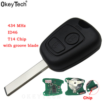 OkeyTech Car Accessories 2 buttons 433MHZ For Peugeot 407 307 Transponder For Citroen Remote Key Control Flip Keyless ID46 Chip okeytech mini nd900 car key programmer nd 900 transponder tool auto car key for toyota g 4d67 72g t5 4c 4d id46 chip copy cloner