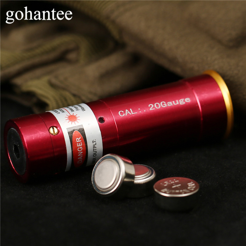 Gohantee Caccia Boresighter Tactical 20 Calibro Laser Della Cartuccia Foro Sighter Sight Fucili 20GA Boresight Laser Red Dot Pistola della Pistola