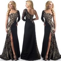 Sexy Evening Dresses Long 2018 One Shoulder Lace Leg Slit Cheap Black Evening Gowns Burgundy Mermaid Robe De Soiree Longue 2018