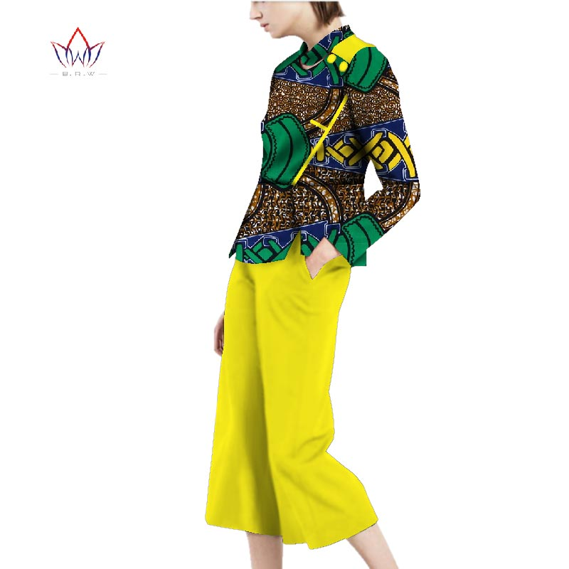 full sleeve women sets african women jumpersuit with print women african clothing o-neck dashiki pant plus size regular WY2815