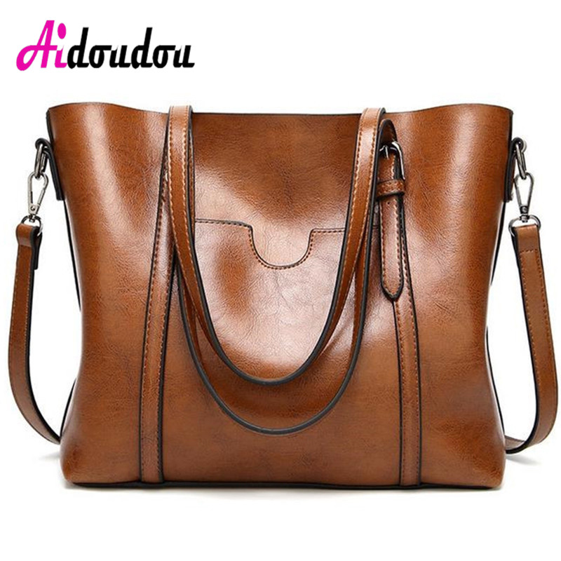 Fashion Women Shoulder Bag Oil Wax Women's Leather Handbags Luxury Ladies Hand Bags Messenger Big Tote Sac a Main Bolsos Mujer 2017 famous brand women leather handbags lichee pattern pu leather shoulder bags big ladies hand bag sac a main hobos tote bag