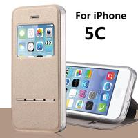 For Apple IPhone 5C Smart Answer Cases Stent TPU Leather Flip Case Window Protect Cover Case