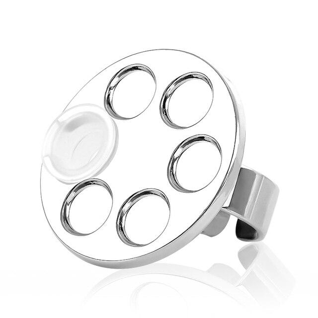 1pc Mini Einstellbare Nagel Palette Silber Edelstahl Make-Up Finger Ring UV Gel Polnischen Malerei Zeichnung Pigment Platte Regal