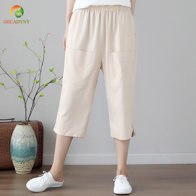 Casual Women's Linen Harem   Pants   Loose Ethnic Female Trousers Calf Length Elastic Waist Large Size Femme Harem   Pants     Capris