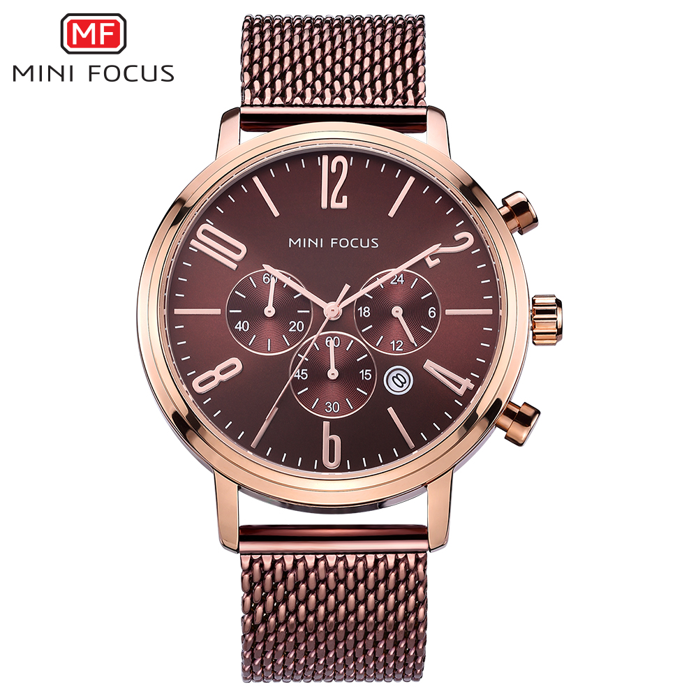 MINIFOCUS Sport Mens Watches Top Brand Luxury Stainless Steel Mesh Band Quartz Wristwatches Multifunction Watch Men Reloj Hombre reloj hombre luxury brand watch men stainless steel mesh strap sports watches men fashion quartz wristwatches montre homme