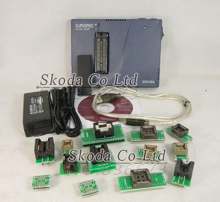 Xeltek Programmer Superpro 610P USB Interfaced Ultra-high Device Programmer Universal IC Chip Programmer+13pcs Burn Block xeltek private seat tqfp64 ta050 b006 burning test