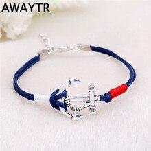 AWAYTR Handwork Weaving PU Leather Anchor Bracelet Men Women Charm Bracelets for Women Best Friend Gift Fashion Jewelry