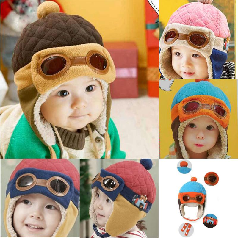 08f0276bfbcca Cute Winter Warm Baby Hats Infant Toddlers Boys Girls Pilot Aviator Warm  Caps Soft Eargflap Hat Beanies Cap Pilot Cap-in Hats & Caps from Mother &  Kids