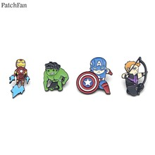 Patchfan enamel brooches pins Marvel's The Avengers Hulk Captain America Iron Man Hawkeye para backpack bag badges for men A0867(China)