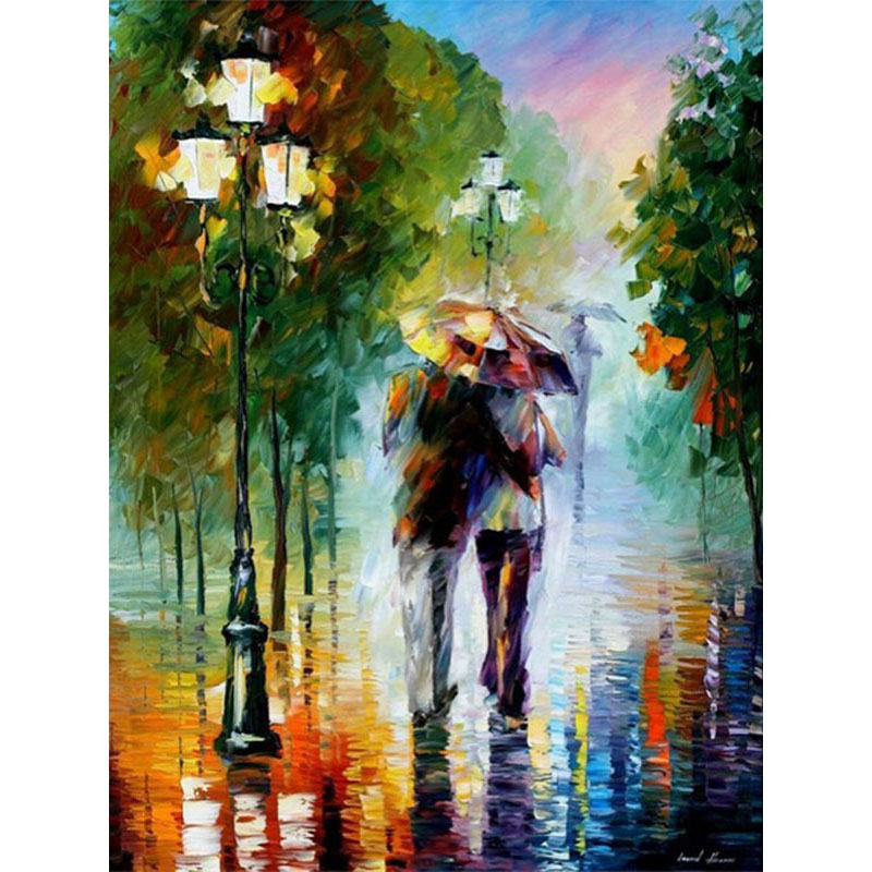 Couple Walking In The Rain Hand Made Paint High Quality Canvas Beautiful Painting By Numbers Surprise Gift Great Accomplishment