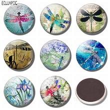 Dragonfly Summer 30 MM Fridge Magnet Glass Cabochon Magnetic Refrigerator Stickers Note Holder Lover Gift Home Decor