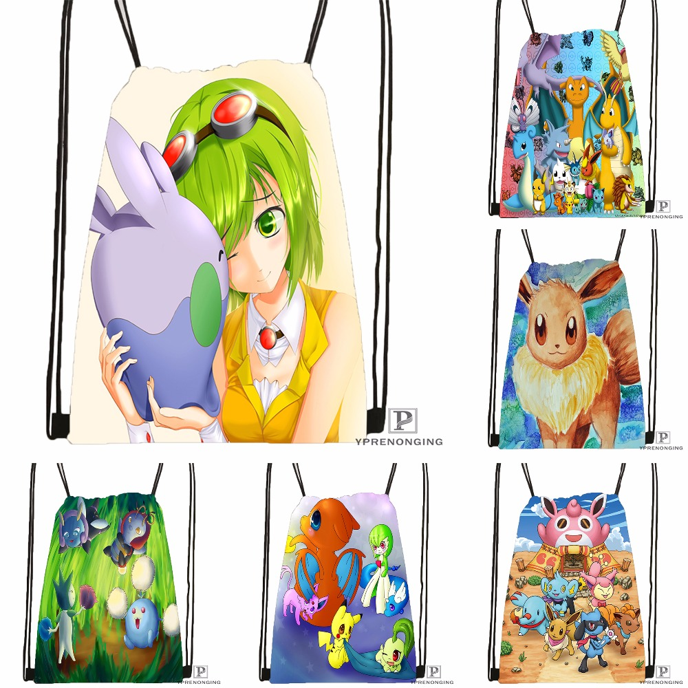 Custom Pokemon Pikachu Style Drawstring Backpack Bag Cute Daypack Kids Satchel (Black Back) 31x40cm#180531-02-09