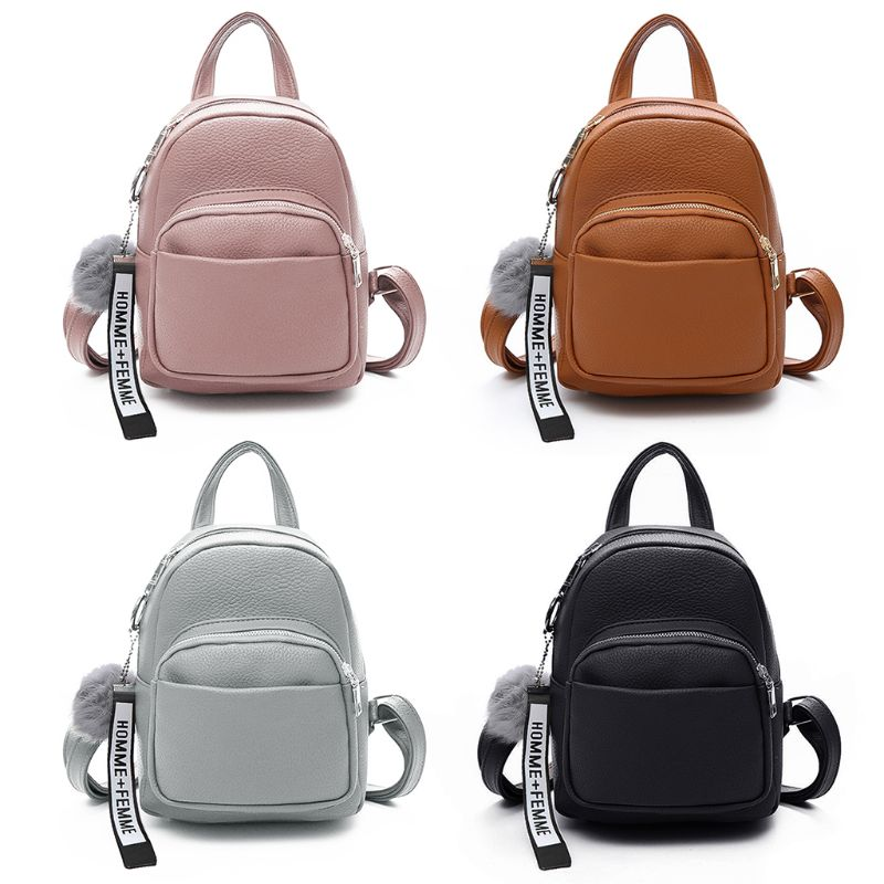 School Bags Women Pu Leather Backpacks Mini Cute Travel Rucksack Ball Pendant Shoulder School Bag Luggage & Bags